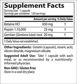 [Pack of 2] Doctor's Best Betaine HCI Pepsin and Gentian Bitters, Non-GMO, Gluten Free, Digestion Support, 120 Caps Each