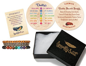 SHIP BY USPS: Chakra Balancing Lava Diffuser Bracelet Authentic Crystal Stones for Women | SPUNKYsoul Collection
