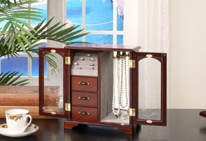 Nathan Direct Cabby Dual Case Jewelry Box with 3 Drawers, Ring Holders, and Necklace Hooks, Mahogany