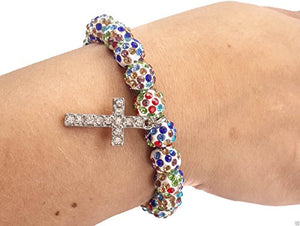 Colorful Beads Catholic Cross Bracelet By Nazareth Store Multi Color Crystal Beaded Rosary Wrist Bangle Catholic Cross | Holy Land Stretch Jewelry