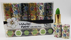 Magic Kiss Lipstick Set Aloe Vera Color Changing Variety Flower Pack Green