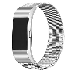 bayite Milanese Loop Bands Compatible Fitbit Charge 2, Stainless Steel Magnet Lock Metal Wristband Women Men Large Small