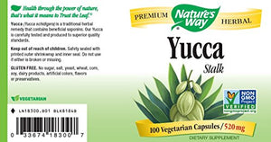 SHIP BY USPS: Nature's Way Yucca Stalk, 520 mg, 100  Capsules