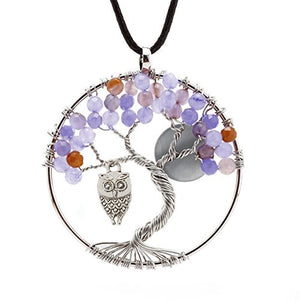 SHIP BY USPS: ALoveSoul Tree Necklace- Family Tree Necklace Gift Wire Wrapped Rainbow Crystal Owl Moon Amulet Pendant