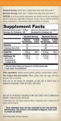 #1 Best Seller SHIP BY USPS NatureWise CLA 1250, High Potency, 180 Counts Natural Weight Loss Exercise Enhancement, Increase Lean Muscle Mass,...