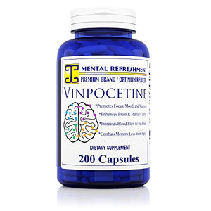 SHIP BY USPS: Vinpocetine: 30 mg, 200 Capsules (1 Bottle) Promotes Focus, Mood and Memory - Made in USA
