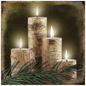 Radiance Lighted Birch Candle Canvas Wall Art, from our Lodge Collection