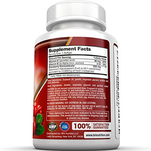 SHIP BY USPS BRI Nutrition 3x Strength 12,600mg CranGel Power Plus: High Potency, Maximum Strength Cranberry 90 SoftGels..