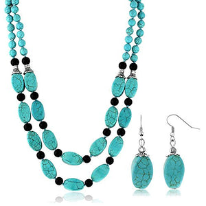 "SHIP BY USPS: 18"" Stunning Beads Simulated Turquoise Howlite Double Necklace and Earrings Set"