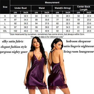Women Lingerie Satin Lace Chemise Nightgown Sexy Full Slips Sleepwear