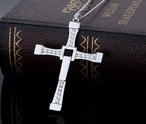 SHIP BY USPS: Stainless Steel Masculine Mens Religious Cross Pendant Necklace With Silver Chain