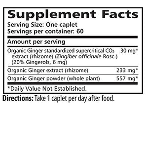 SHIP BY USPS: Himalaya Organic Ginger 60 Caplets for Digestive Comfort, Motion Sickness & Nausea 820mg