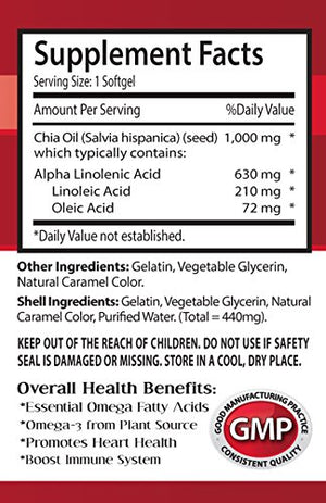Chia seed oil capsule - CHIA SEED OIL 2000 - rich source of healthy fats and nutrients (2 bottles)