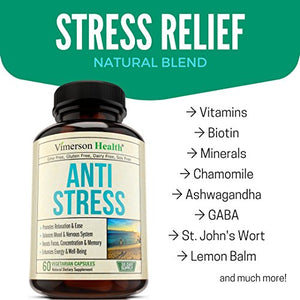 SHIP BY USPS Stress Relief & Anti Anxiety Supplement - Natural Herbal Blend with Biotin, 5-HTP, Valerian, Lutein, Vitamins B1...