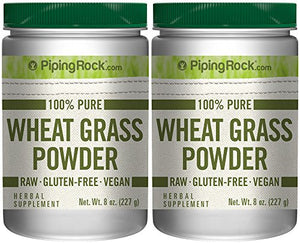 100% Pure Wheat Grass Powder 2 Bottles x 8 oz (227 g) Raw Gluten Free Vegan Herbal Supplement