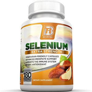 SHIP BY USPS BRI Nutrition Selenium 180ct 200mcg Vegetable Formula - Essential Trace Mineral to Support Thyroid, Prostate...