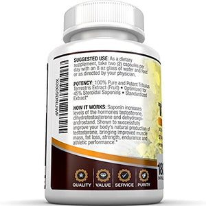 SHIP BY USPS BRI Nutrition Tribulus Terrestris - 180 Count 45% Steroidal Saponins - Highest Purity On The Market - 1500mg...