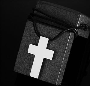 Stainless Steel Simple Cross Pendant Necklace Polished for Men Jesus Christ Lord Prayer,Free Chain