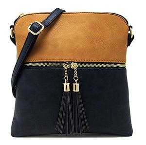 Solene Women's Rich Faux Leather Light Weight Medium Crossbody Bag and Large Capacity Purse Organize Your Small Wallet, Cards, Phone And Daily Items with Adjustable Shoulder Strap