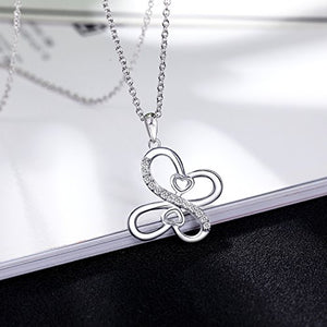 EURYNOME Sterling Silver Double Love Heart Butterfly Pendant Necklace,18 Inch Rolo Chain