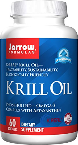 SHIP BY USPS Jarrow Formulas Krill Oil, Supports Brain, Memory, Energy, Cardiovascular Health, 60 Softgels