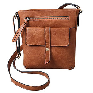 FanCarry Women's Medium Front Flap Solid Crossbody Purse Shoulder Bag Travel Satchel- Upgraded
