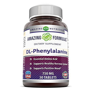 SHIP BY USPS: Amazing Nutrition Amazing Formulas DL-Phenylalanine Dietary Supplement - 750 mg - 30 Tablets - Supports...