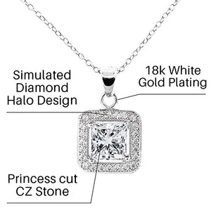 Cate & Chloe Amazon Day Prime Ivy 18k White Gold Plated Princess Cut Halo Pendant Necklace - Silver Halo Necklace w/Solitaire Square Cut Cubic Zirconia Diamond- Wedding Anniversary - MSRP - $150
