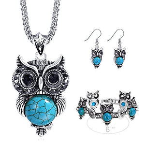 SHIP BY USPS: Miraculous Garden Girls Vintage Owl Jewelry Sets Silver Retro Turquoise Gemstone Owl Pendant Necklace Drop Earrings Charm Bracelet Set (Antique Silver)