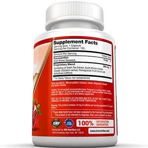 SHIP BY USPS BRI Nutrition Fucoxanthin - Maximum Strength Extract Plus Supplement - 30 Day Supply - 60 Capsules