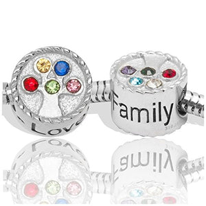 SHIP BY USPS: Birthstone Charms for European Charm Bracelets Stainless Steel Family Tree