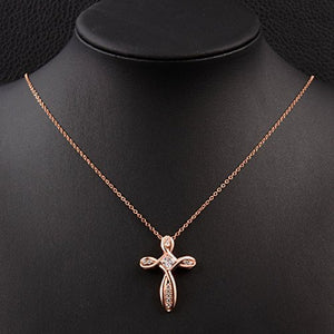 "Women Cross Necklace Plated 18k Gold Zircon Rose-gold/Gold/Silver - 20.5"" with Gift Box ¡­"