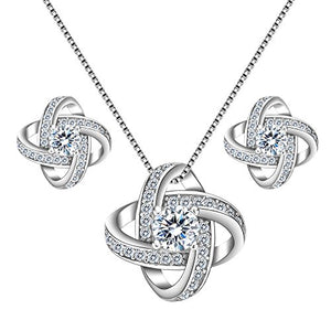 SHIP BY USPS:  925 Sterling Silver Cubic Zirconia Bridal Pendant Necklace Earrings Jewelry Set Clear