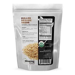 Amazing Food USDA Certified organic Hulled Sesame Seeds - Mineral Rich Snack Vegan NON-GMO Raw Gluten...
