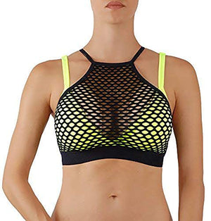 ROUGHRIVER Women's Yoga Top Extra Support Sports Bra with Mesh Removable Padding and Criss Cross Straps Back