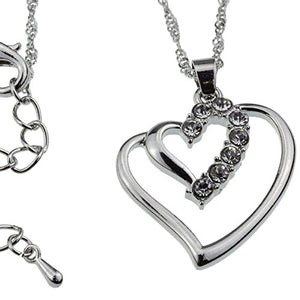 SHIP BY USPS Silver Crystal Double Heart Pendant Necklace Perfect Valentine's Day Jewelry Gift for Woman Teens Girls