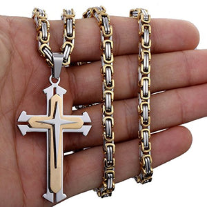 SHIP BY USPS: Trendsmax Jewelry Stainless Steel Cross Pendant Necklace Mens Boys Chain 5mm Byzantine Chain 22-30inch