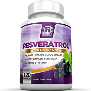 SHIP BY USPS BRI Nutrition Resveratrol - 1200mg Maximum Strength Supplement - 30 Day Supply - 60 Veggie Capsules -...