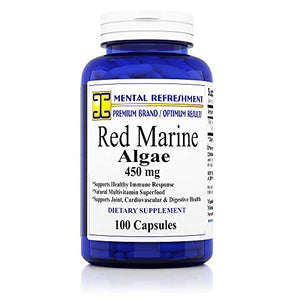 SHIP BY USPS:100% Pure Red Marine Algae - 450mg, 100 Capsules - Natural Immune Support