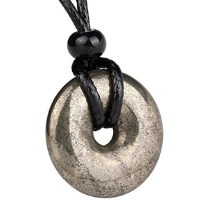 SHIP BY USPS: Amulet Golden Pyrite Iron Lucky Coin Shaped Donut Protection Magic Power Pendant Adjustable Cord Necklace