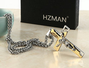"SHIP BY USPS: HZMAN Men's Stainless Steel Cross Crucifix Bible Prayer Pendant Necklace 24"" Chain"