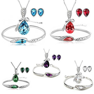 SHIP BY USPS: Silver Tone Healing Crystal Rhinestone Drop Pendant Necklace, Bracelet, Earring Set for Women
