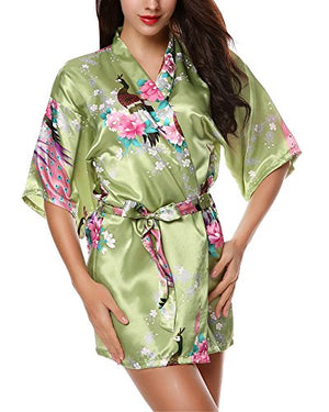 Women's Kimono Robes Peacock and Blossoms Silk Nightwear Short Style