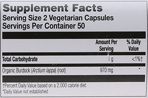 SHIP BY USPS: Solaray Organic Burdock Root Supplement, 485 mg, 100 Count