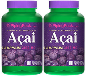 SHIP BY USPS: Piping Rock Triple Strength Acai Supreme 3000 mg 2 Bottles x 180 Quick Release Capsules Herbal Supplement