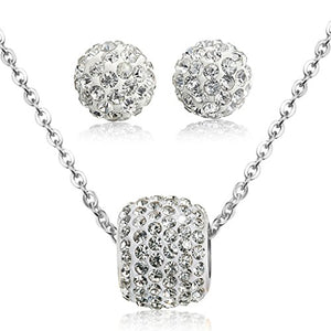 SHIP BY USPS: Jstyle Stainless Steel Cubic Zirconia Necklace for Women Ball Stud Earrings Jewelry Set Elegant