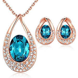 "[Presented by Miss New York] Leafael ""Angel's Teardrop"" Made with Swarovski Crystals Blue Zircon Jewelry Set Earrings Necklace, 18"" +2"", Nickel/Lead/Allergy Free, Luxury Gift Box"
