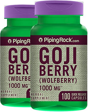 SHIP BY USPS: Piping Rock Goji Berry Wolfberry 1000 mg 2 Bottles x 100 Quick Release Capsules Herbal Supplement