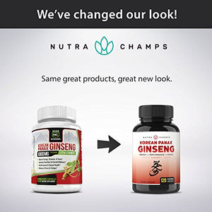 SHIP BY USPS NutraChamps Korean Red Panax Ginseng 1000mg - 120 Vegan Capsules Extra Strength Root Extract Powder...
