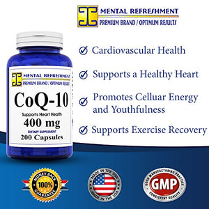 SHIP BY USPS Mental Refreshment: Pure CoQ10 400Mg 200 Capsules (1 Bottle)